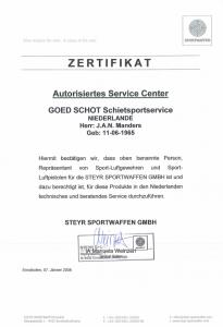 Steyr service certificaat